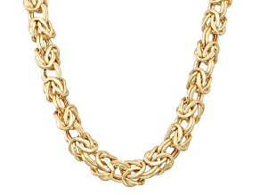 "14k Yellow Gold Heavy 18"" Squared Byzantine Necklace"