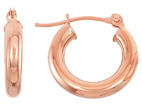 14k Rose Gold 3mm Thick 20mm Classic Hoop Earrings