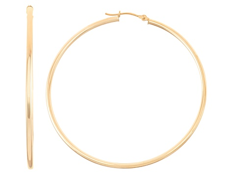 14k Yellow Gold 2mm Thick 65mm Classic Hoop Earrings