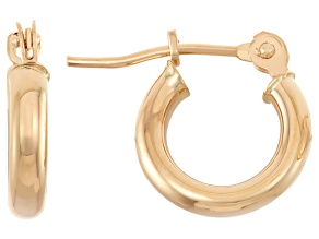 14k Yellow Gold 2mm Thick 10mm Classic Hoop Earrings