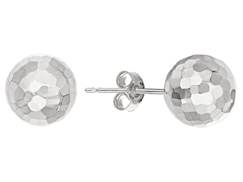 14k White Gold 8mm Hammered Ball Earrings