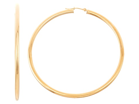 14k Yellow Gold 3mm Thick 65mm Classic Hoop Earrings