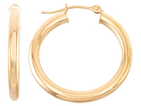 14k Yellow Gold 3mm Thick 25mm Classic Hoop Earrings