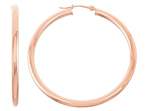 14k Rose Gold 3mm Thick 40mm Classic Hoop Earrings