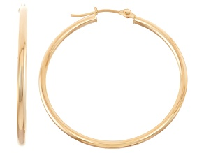 14k Yellow Gold 2mm Thick 35mm Classic Hoop Earrings
