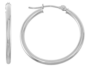 14k White Gold 2mm Thick 25mm Classic Hoop Earrings