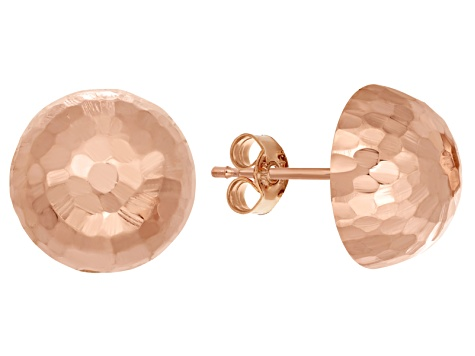 14k Rose Gold Hammered Half-Ball 10mm Stud Earrings