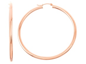 14k Rose Gold 3mm Thick 55mm Classic Hoop Earrings