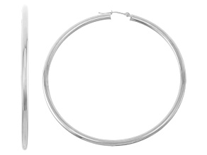 14k White Gold 3mm Thick 60mm Classic Hoop Earrings