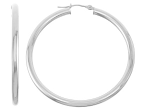 14k White Gold 3mm Thick 40mm Classic Hoop Earrings