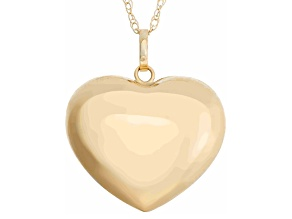14k Yellow Gold High Polished Puff Heart Pendant Necklace