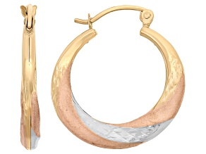 14k Tri-Color Gold Satin And Diamond Cut Twist Hoop Earrings