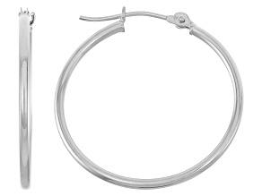 14k White Gold 1.5mm Thick 25mm Hoop Earrings