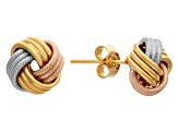14k Tri-Color Gold Textured Love Knot Earrings