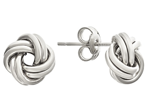 10k White Gold Love Knot Stud Earrings