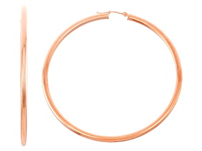 14k Rose Gold 3mm Thick 65mm Classic Hoop Earrings