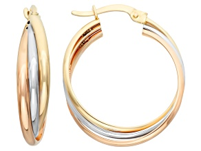 14k Tri-Color Gold Heavy Rolling infinity Hoop Earrings
