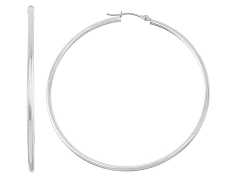 14k White Gold 2mm Thick 65mm Classic Hoop Earrings