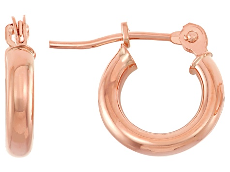 14k Rose Gold 2mm Thick 10mm Classic Hoop Earrings
