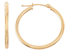 14k Yellow Gold 2mm Thick 25mm Classic Hoop Earrings