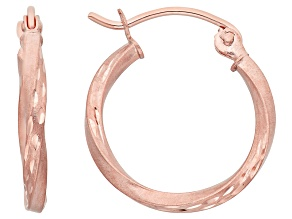 14k Rose Gold Satin Diamond Cut Hoop Earrings