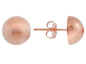 14k Rose Gold 8mm High Polish Half-Ball Earrings