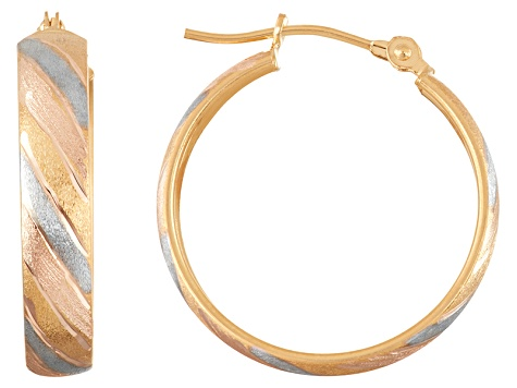 10k Tri-Color Satin Finish Hoop Earrings
