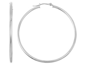14k White Gold 2mm Thick 50mm Classic Hoop Earrings
