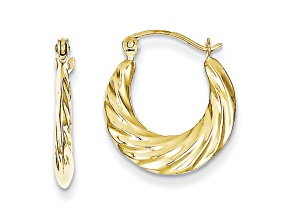 10k Yellow Gold Fancy Small Hoop Earrings