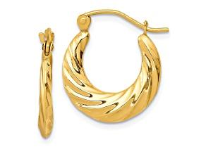 10k Yellow Gold Fancy Small Hoop Earrings