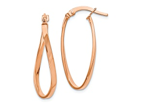 10k Rose Gold Polished Hinged Hoop Earrings