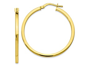 10k Yellow Gold Polished Hinged Hoop Earrings