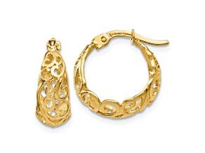 10k Yellow Gold Polished Hinged Hoop Earrings