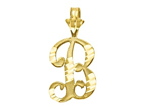 10k Yellow Gold Diamond-Cut Grooved initial B Charm