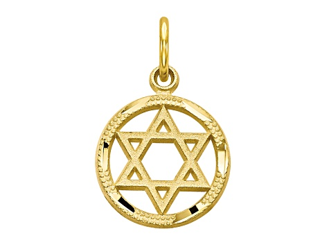 10k Yellow Gold Star Of David Charm