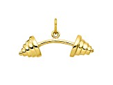 10k Yellow Gold Solid Barbell Charm