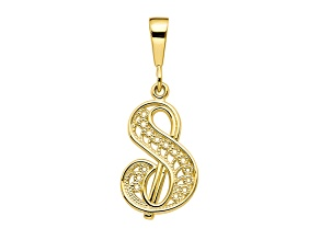 10k Yellow Gold Script initial S Charm