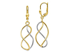 10k Yellow Gold With Rhodium Polished Leverback Earrings