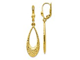 10k Yellow Gold Polished And Diamond-Cut Dangle Leverback Earrings