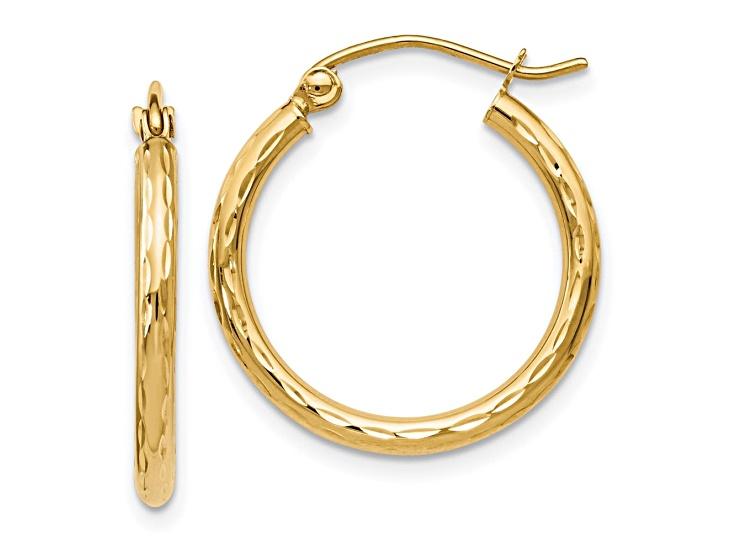 Hoop Earrings 10Kt Gold Texture Hoop Earring