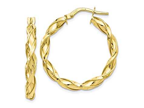 10k Yellow Gold Polished Twisted Hoop Earrings