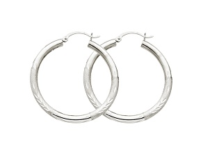 10k White Gold Satin & Diamond-Cut 3mm Round Hoop Earrings