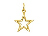 10k Yellow Gold Diamond-Cut Flat Back Star Charm