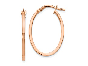 10k Rose Gold Polished Oval Hoop Earrings