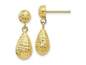 10k Yellow Gold Diamond-Cut Post Dangle Earrings