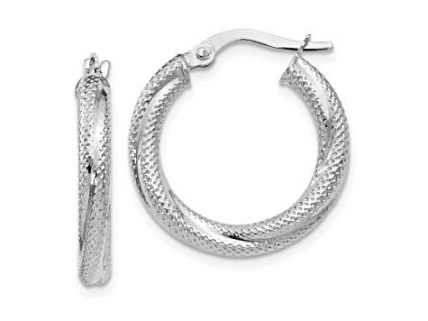 10k White Gold Textured Hinged Hoop Earrings