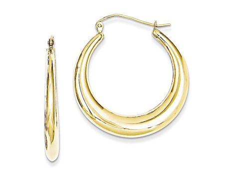 10K Yellow Gold Polished Lightweight Classic Earrings