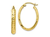 10k Yellow Gold Diamond-Cut Oval Hinged Hoop Earrings