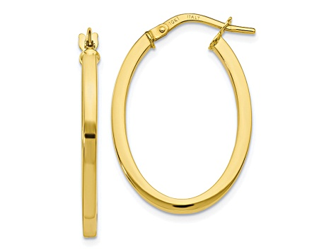 10k Yellow Gold Polished Oval Hinged Hoop Earrings