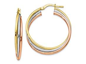 10k Tri-Color Polished Hoop Earrings